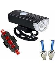 TYESHA Luz de bicicleta com carregamento USB super brilhante, luz de ciclismo à prova d'água, luz frontal de bicicleta, conjunto de luz traseira Faróis de pneu