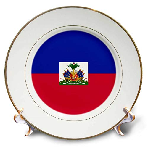 3dRose Flag of Haiti-Dark Navy Blue and red with Haitian Coat of arms-Caribbean Country World Souvenir-Porcelain Plate, 8-inch (cp_158327_1)