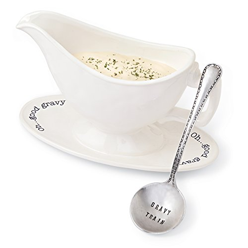 Mud Pie 4831006 Circa Gravy Boat Set, White