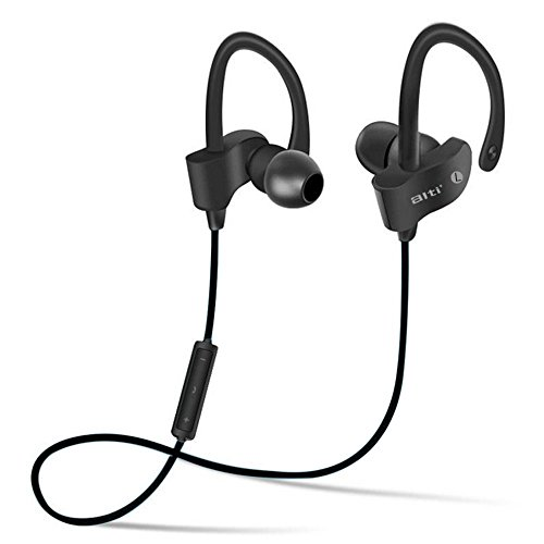 ALTI Bluetooth 4.1 Headphones With Mic, Noise Cancelling Best Wireless Sports SweatProof EarBuds, IPX7 WaterProof Headset For Gym, Running 7 Hour Battery. Zippered Case Include
