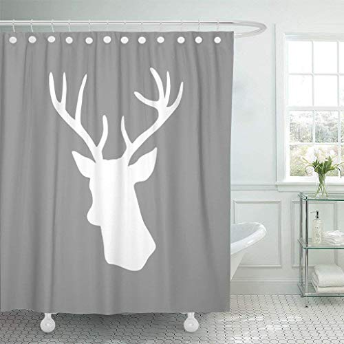 - GisRuRu Shower Curtains 66 x 72 inches Waterproof Fabric Cute White Deer Head Silhouette Gray Decorative Bathroom Odorless Eco Friendly Anti Bacterial Set with Hooks
