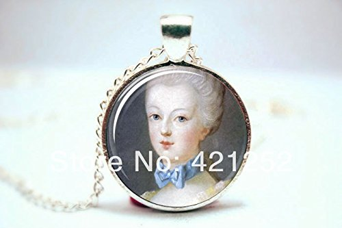 Pretty Lee 2015 Fashion Marie Antoinette Necklace Art Pendant Charm With Necklace Chain Glass Photo Cabochon Necklace Christmas gift (Glass Pendant Antoinette)