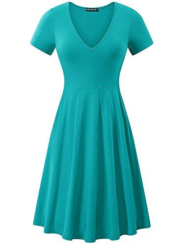 FENSACE Womens Short Sleeve Summer Turquoise Cotton Sundress