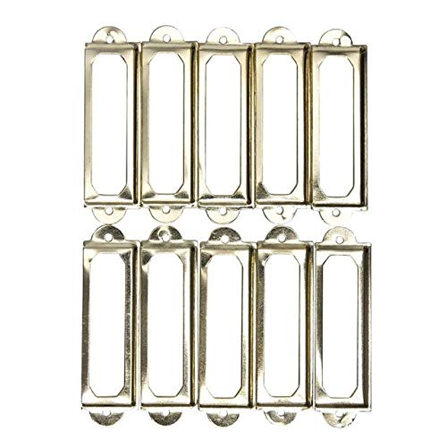 10pcs Drawer Pull Holder Poignee Meuble Label Handle Card Frame With Screws Antique Cabinet File 4 Colors 60x17mm - (Color: gold)