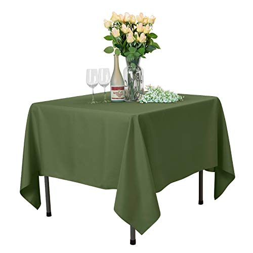 - VEEYOO Square Tablecloth 100% Polyester Table Cloth for Indoor and Outdoor Table - Solid Dinner Tablecloth for Wedding Party Restaurant Coffee Shop (Olive, 70x70)
