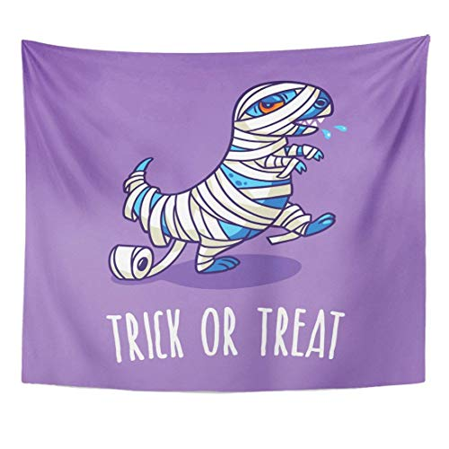 Tapestry Autumn Trick Treat Halloween with Dinosaur in Mummy Costume Baby Home Decor Wall Hanging for Living Room Bedroom Dorm 50x60 inches -