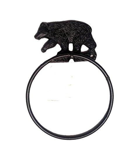 Black Bear Decor Cast Iron Towel Ring