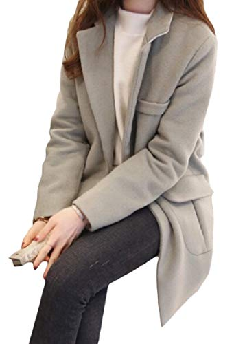 Curvy Grey Woolen Pocket Collar EnergyWomen Buttons Long Jacket Mid Solid Turn Down w6gqga