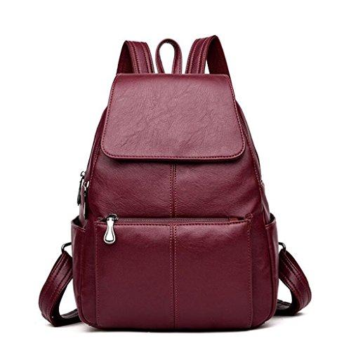 Liu Woman Travel Sac à dos en grande capacité Sac en cuir souple Personnalité Étudiant Fashion (taille: 26 * 13 33 cm) Vin Rouge