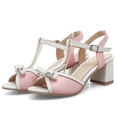 TAOFFEN Women Comfort Peep Toe T-Strap Block Heel Slingback Buckle Sandals White j9FKEUi