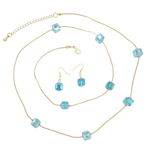 Designer Inspired Necklace Set (Glass Beveled Cubes on Gold Tone Snake Chain Boutique Style Necklace & Earrings Set (Light Blue))