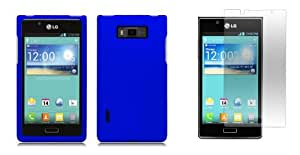 LG Optimus Showtime - Premium Accessory Kit - Blue Hard Cover Case + ATOM LED Keychain Light + Screen Protector