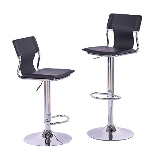 Sidanli Black Swivel Bar Stool, Counter Height Bar Stools with Back (Set of 2) Black Vinyl Swivel Counter Stool
