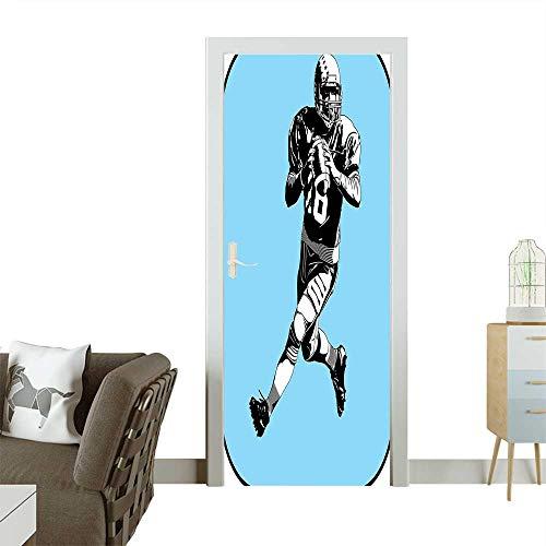 Homesonne Waterproof Decoration Door DecalsAmerican Football League Game Rugby Player Run Original Kitsch Retro Illustration Blue Bla Perfect ornamentW17.1 x H78.7 INCH ()