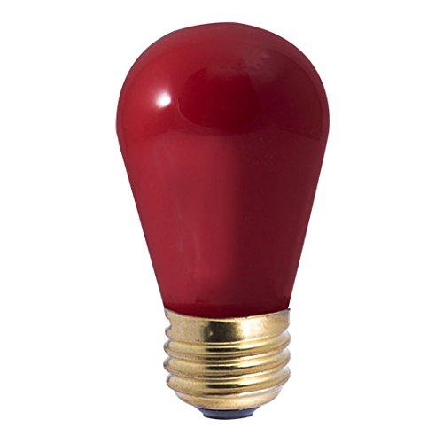 25 Pack 11 Watt S14 Medium Base 130 Volt 2500 Hour Ceramic Red Sign or Indicator Lightbulb by Bulbrite