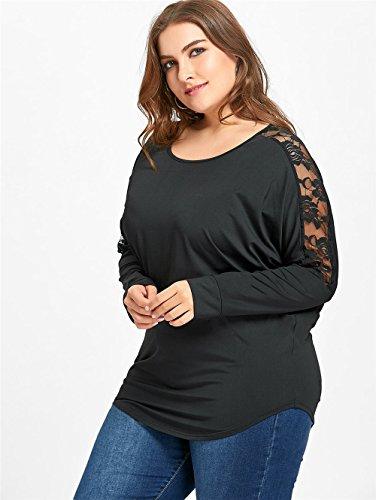 Manica Pizzo Giuntura Unita Classico Plus Camicetta Maglietta Donna Black Forti Bluse Top Lunga Shirts Allentato Size T Girocollo AILIENT Tinta Taglie Wq5CO6nICK