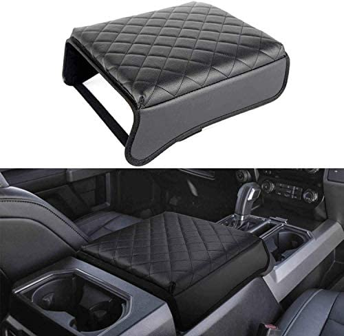 TAITONG F150 Console Armrest Cushion Automotive Customized Console Armrest Cushion Compatible with Ford F150 Accessories 2015-2020 Armrest Cover Arm Rest Cushion Pad (Black)