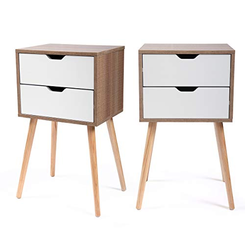 Tobbi Set of 2 Nightstand Bedside Table Sofa End Table Bedroom Decor 2 Drawers Storage ()