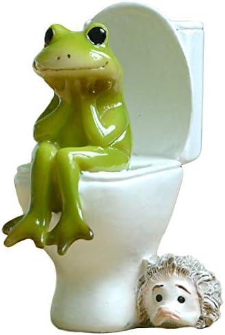 Gemmia Miniature Fairy Garden Frog Figurine- Toilet Thinking Frog