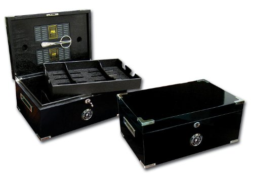 Prestige Import Group - The Dakota Cigar Humidor with Full Black Interior - Color: Black Lacquer by Prestige Import Group