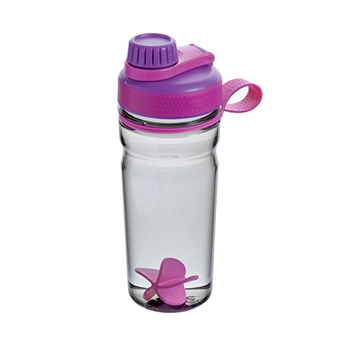 Rubbermaid Shaker Cup for Protein Shakes - 20-Ounce Protein Shaker Bottle for Mixing Whey Protein Powder, Juices, and Smoothies - BPA-Free, Comes with Finger Loop and Blender Paddle Ball - Purple (Powdered Drink Mixer)