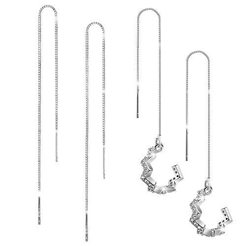 - Exlura 925 Sterling Silver Wave Cuff Long Chain Earrings Line Wrap Tassel Threader Drop Earrings Gifts for Women