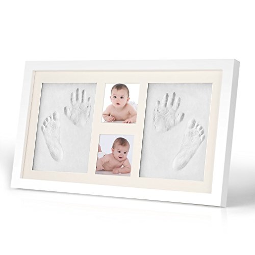 Footprint Frame - Baby Handprint Footprint Picture Frame Kit-HOBFU 1.9x10.5x18 inches Keepsake Box for Boys and Girls Memorable Baby Shower Gift Idea for Registry Personalized Table and Wall Photo Decoration