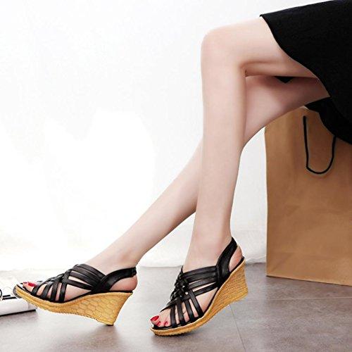 Zha de cuña sandal Negro moda mujer mujer enrollada Tacón Mujer de Ba Hei calzado Elegante y Transpirable mujer Para Cuerda de Sandalias zapatos Sandalias Cómodo Tiras de Cruzadas Bp64dqnWR