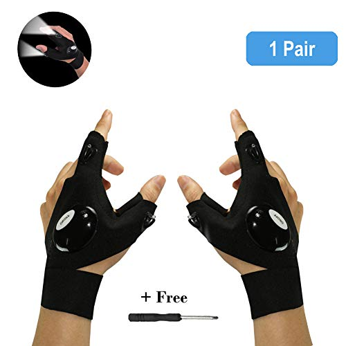 Nosubo LED Flashlight Gloves Fingerless Outdoor Waterproof Fishing Gloves Cool Gadgets for Working in Darkness Night Running Repairing Fishing Camping Hiking in Dark Place (1 Pair)