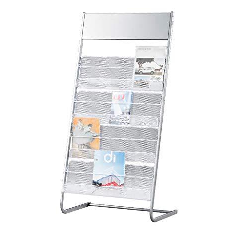 Silver White Iron Magazine Rack, Magazine Rack for Offices, Stores Or Retail, (4) Mesh Shelves