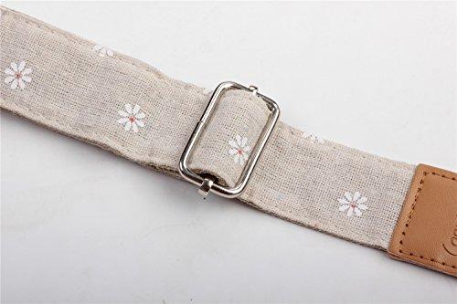 HOT SEAL Linen Style Adjustable Genuine Uke Leather Metal Hook Ukulele Strap Strong Back Straps (Linen Daisy) by HOT SEAL (Image #3)