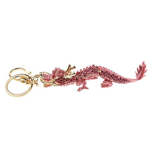 New Chinese Dragon Pendant Rhinestone Crystal Key Ring Handbag Car Keychain Gift (Color - Pink)