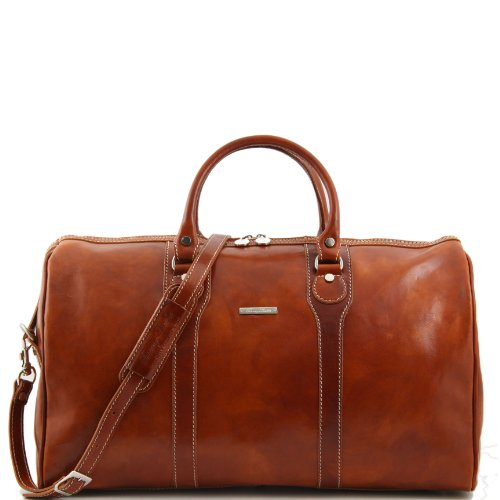 Tuscany Leather Oslo Travel leather duffle bag - Weekender bag Honey by Tuscany Leather