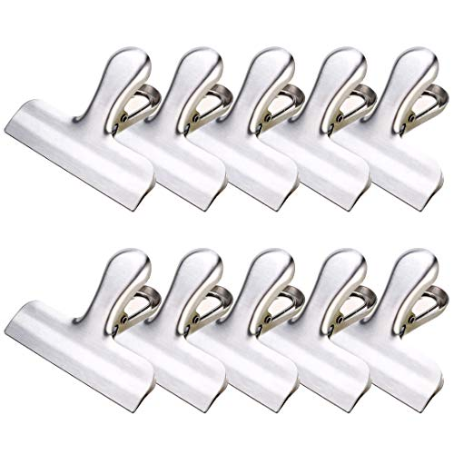10 Set Thicker Chip Clip Stainless Steel Bag Clips 3 inches Wide Heavy Duty for Air Tight Seal Grip On Kitchen Food Bag, Paper clip by LOSCATO