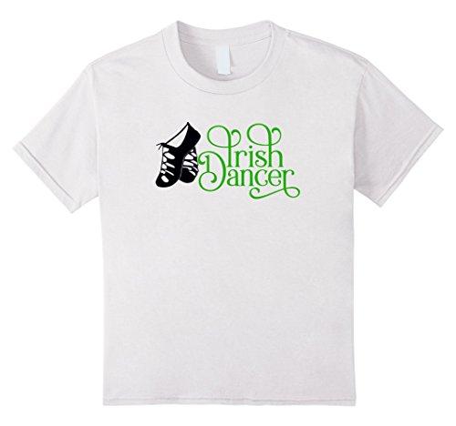 Kids Irish Dance Girl T Shirt with Soft Shoes 8 White