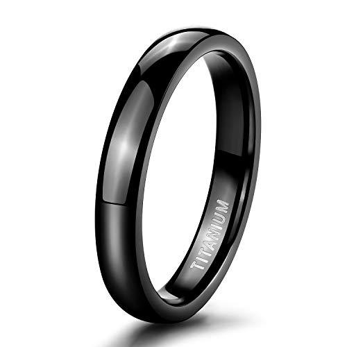 (TIGRADE 4mm Black Titanium Ring Plain Dome High Polished Wedding Band Ring Comfort Fit Size 11)