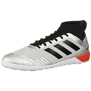 adidas Men's Predator 19.3 Indoor Soccer Shoe, Silver Metallic/Black/hi-res red, 9 M US