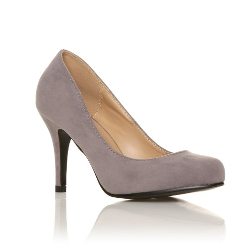 PEARL Grey Faux Suede Stiletto High Heel Classic Court Shoes LXZnSTB6i1