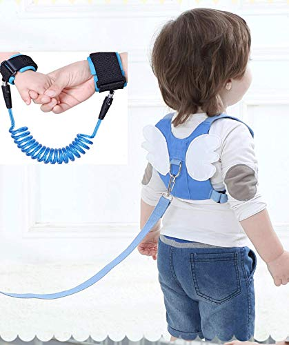 Toddler Harness Safety Leashes, Baby Leash for Walking, Anti Lost Wrist Link 1.5m, Walking Safety Harness for Kids, Toddler Leash Harness Angel Wings 1-3 Years Boys and Girls(Blue) ()