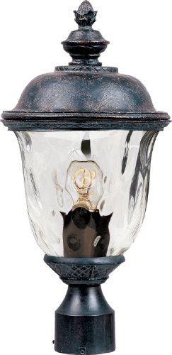 - Maxim 40426WGOB Carriage House VX 1-Light Outdoor Pole/Post Lan, Oriental Bronze Finish, Water Glass Glass, MB Incandescent Incandescent Bulb , 13W Max., Dry Safety Rating, 2700K Color Temp, Glass Shade Material, 8100 Rated Lumens