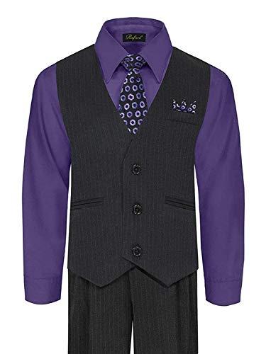 iGirldress Big Boys' Special Occasion Pinstripe Vest Set Black/Purple 8 ()