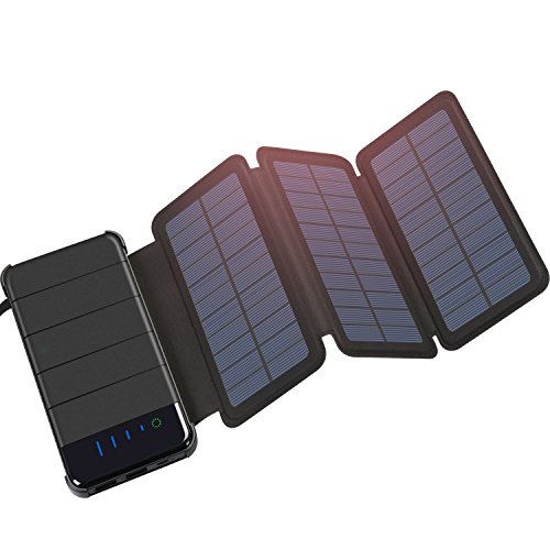 Solar Charger, FEELLE Detachable Solar Power Bank 10000mAh with 3 Solar Panels, Dual 2.1A Port USB Portable Solar Phone Charger Battery Pack with LED Flashlight for iPhone X/8/7/6s Plus Android Phone