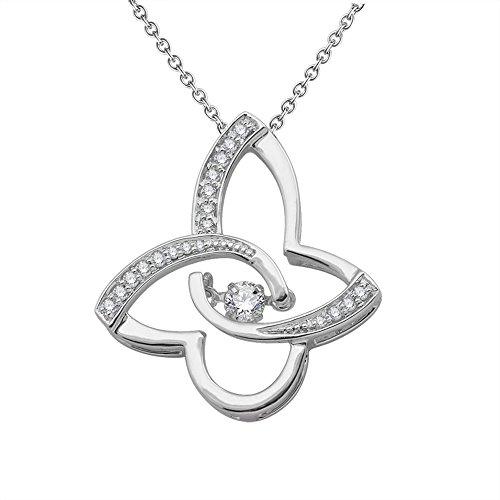 10k White Gold Butterfly Shape Diamond Pendant Necklace (1/5 carat)