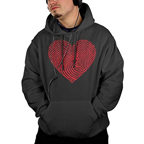 Men's Heart Fingerprint Fleece Pullover Hoodie Sweatshirt with Kangaroo Pocket for $<!--$39.71-->