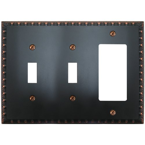 Amerelle Egg & Dart Double Toggle/Single Rocker Cast Metal Wallplate in Aged Bronze