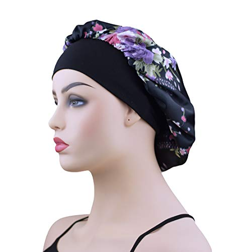 Satin Sleep Bonnet Cap for Women, Wide Band Satin Sleeping Caps Night Hat Head Cover for Natural Hair Loss, Black Flower (The Best Hair Care Products For Natural Hair)