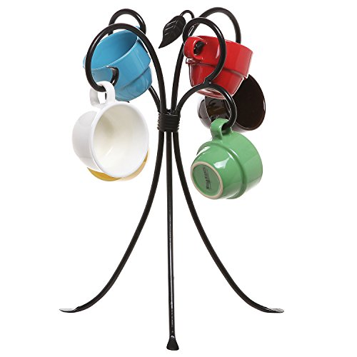 Freestanding-Black-Metal-Scrollwork-Design-4-Hook-Counter-Top-Coffee-Mug-Tea-Cup-Tree-Organizer-Rack