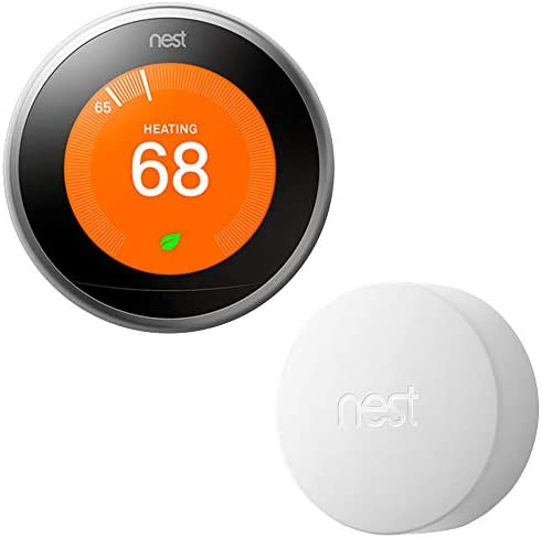 Google Nest T3007ES Learning Thermostat – 3rd Gen – (Stainless Steel) with Nest Temperature Sensor (T5000SF)