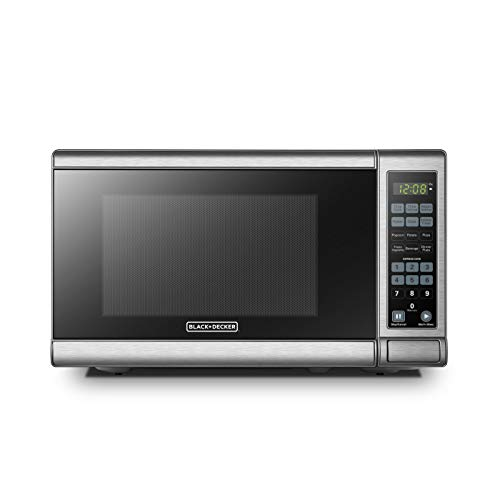 BLACK+DECKER EM720CB7 Digital Microwave Oven with Turntable Push-Button Door,Child Safety Lock,700W, Stainless...