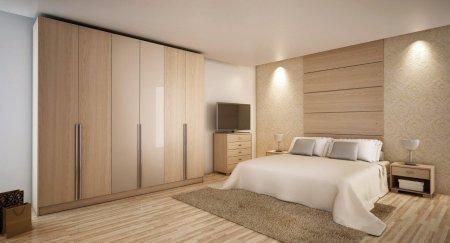 Manhattan Comfort 34163 Manhattan Comfort 4 Drawer Eldridge 6 Door Wardrobe in Oak Vanilla and Nude/ Pro-Touch/Metallic